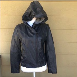 Forever 21 Faux Leather Hooded Jacket Size M
